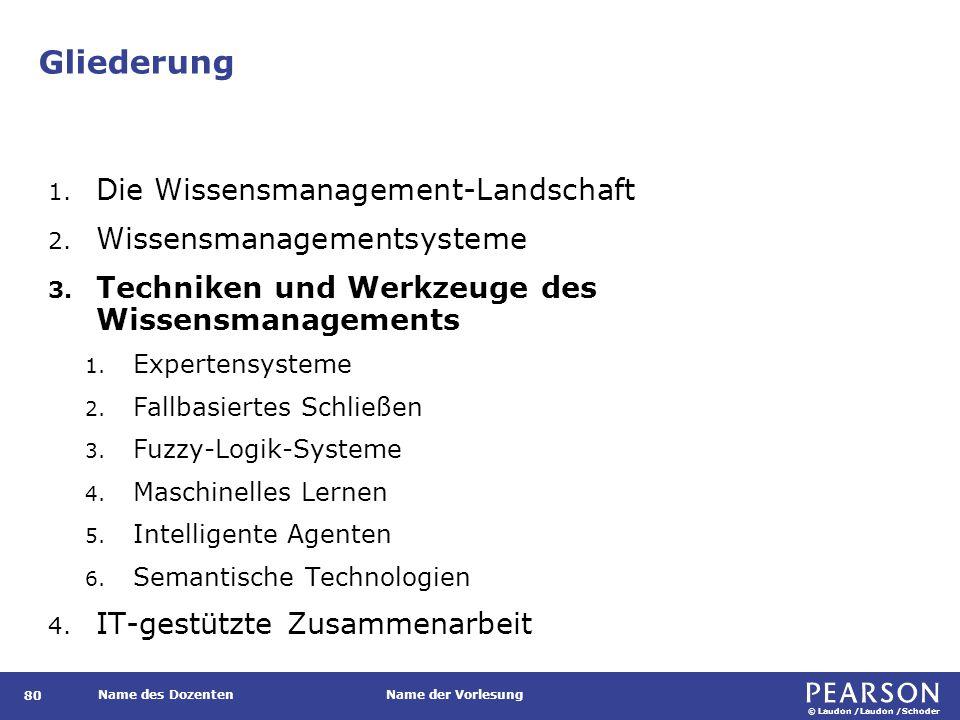 © Laudon /Laudon /Schoder Name des DozentenName der Vorlesung Gliederung 80 1. Die Wissensmanagement-Landschaft 2. Wissensmanagementsysteme 3. Technik