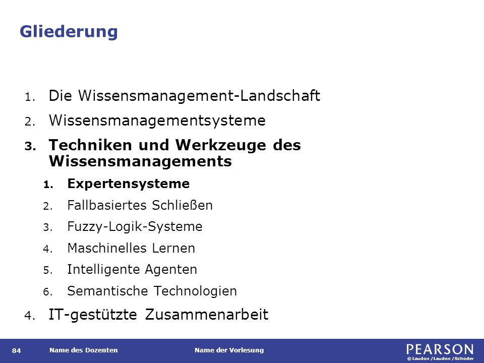 © Laudon /Laudon /Schoder Name des DozentenName der Vorlesung Gliederung 84 1. Die Wissensmanagement-Landschaft 2. Wissensmanagementsysteme 3. Technik