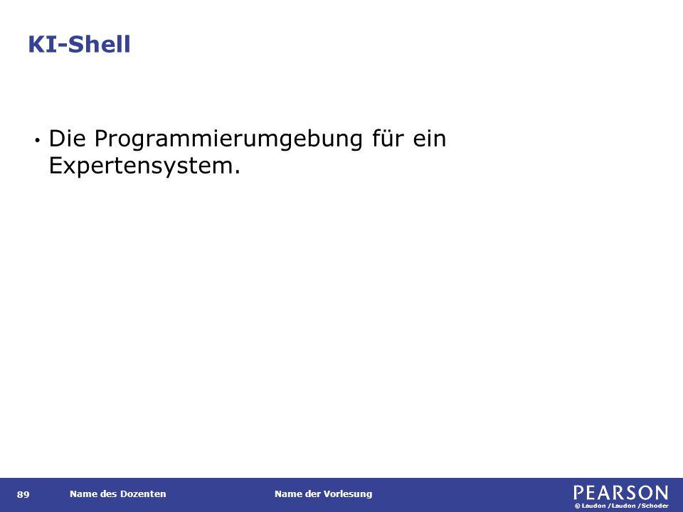 © Laudon /Laudon /Schoder Name des DozentenName der Vorlesung KI-Shell 89 Die Programmierumgebung für ein Expertensystem.