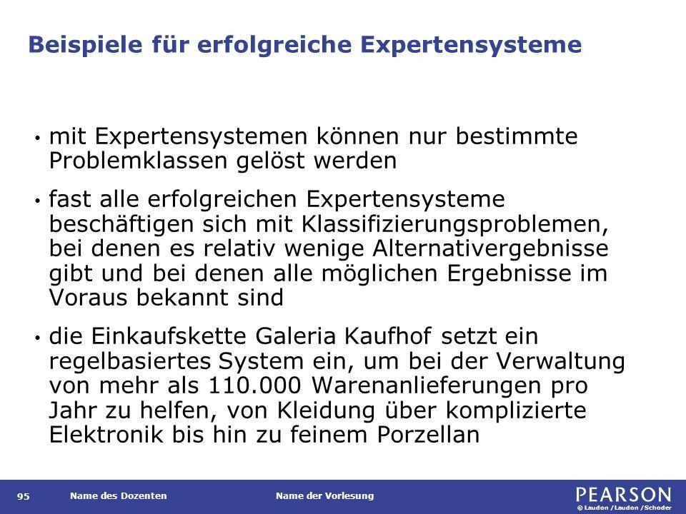 © Laudon /Laudon /Schoder Name des DozentenName der Vorlesung Beispiele für erfolgreiche Expertensysteme 95 mit Expertensystemen können nur bestimmte