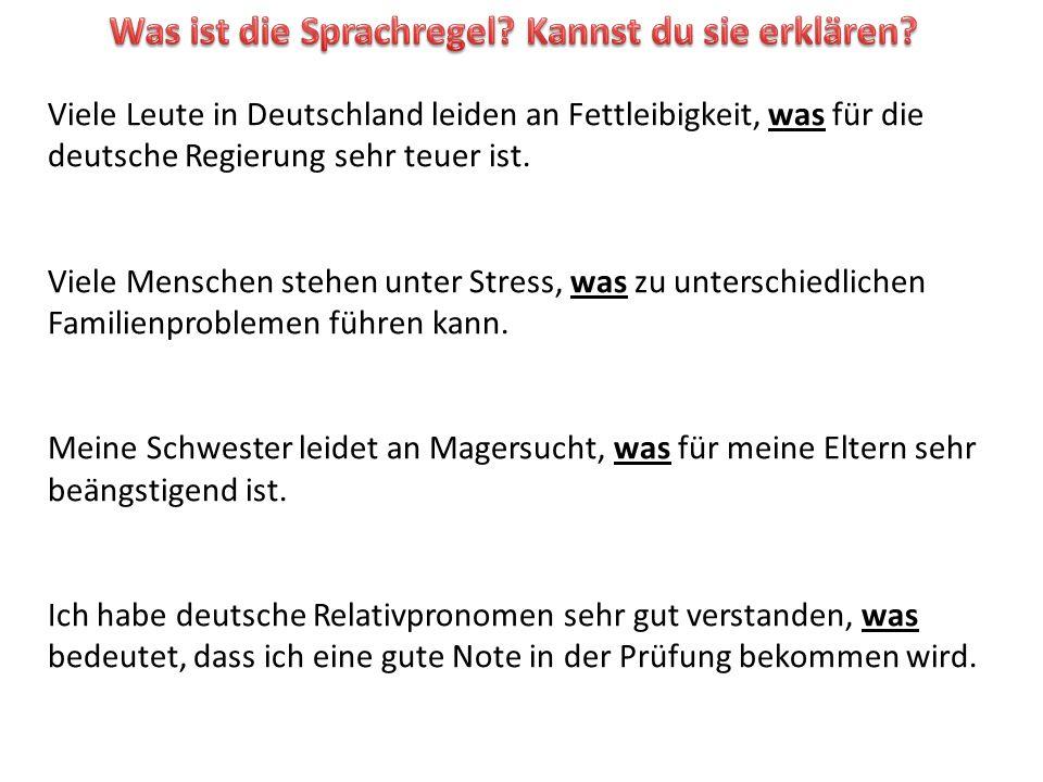 Viele Leute in Deutschland leiden an Fettleibigkeit, was für die deutsche Regierung sehr teuer ist.