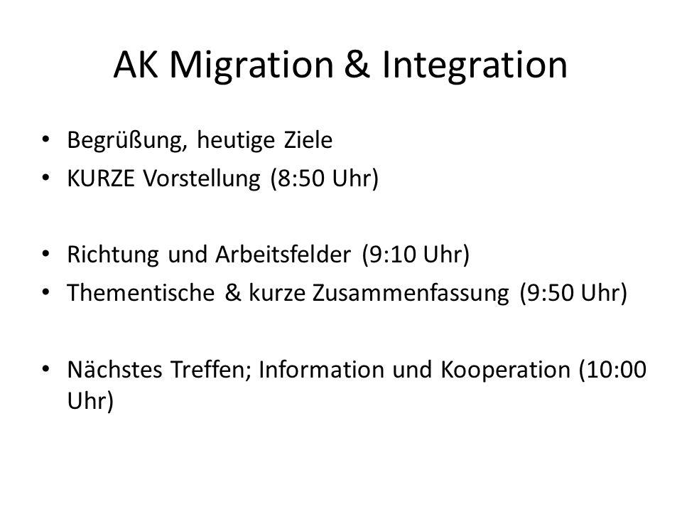 AK Migration & Integration Begrüßung, heutige Ziele KURZE Vorstellung (8:50 Uhr) Richtung und Arbeitsfelder (9:10 Uhr) Thementische & kurze Zusammenfassung (9:50 Uhr) Nächstes Treffen; Information und Kooperation (10:00 Uhr)
