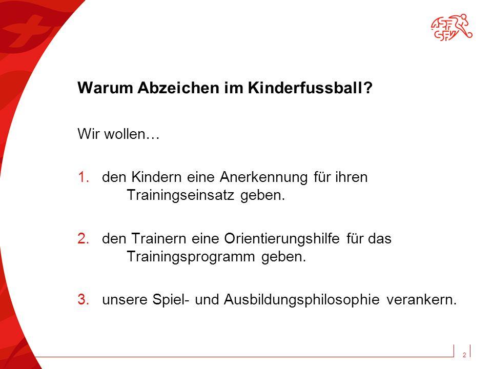 Warum Abzeichen im Kinderfussball? Wir wollen… 1.den Kindern eine Anerkennung für ihren Trainingseinsatz geben. 2.den Trainern eine Orientierungshilfe