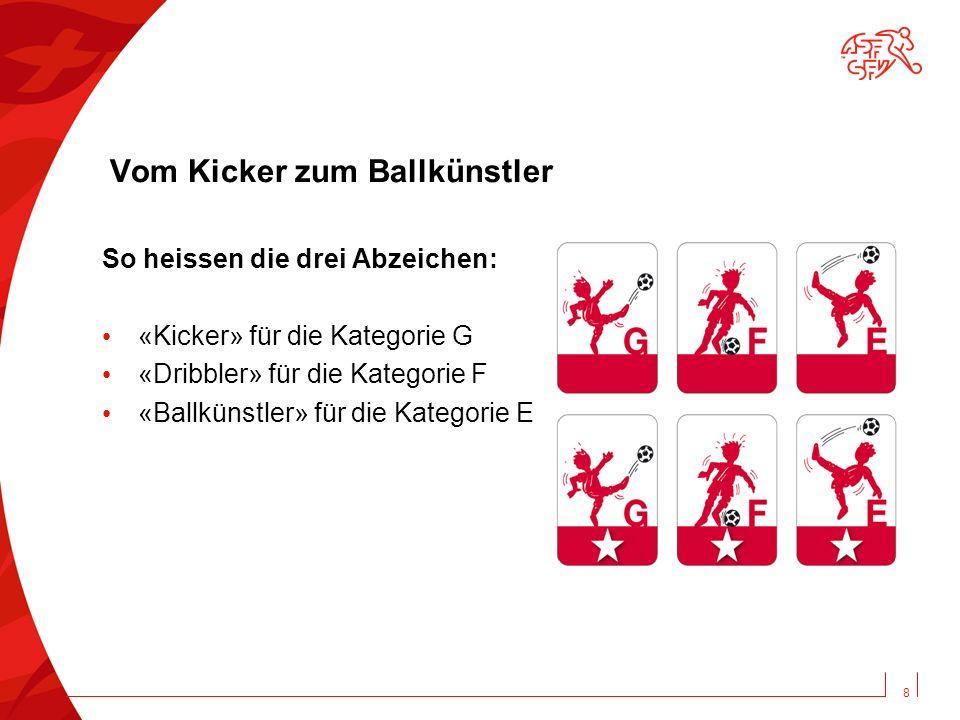 Vom Kicker zum Ballkünstler So heissen die drei Abzeichen: «Kicker» für die Kategorie G «Dribbler» für die Kategorie F «Ballkünstler» für die Kategorie E 8
