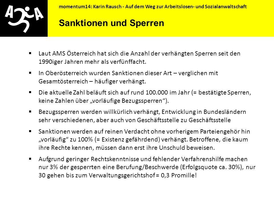momentum14: Karin Rausch - Auf dem Weg zur Arbeitslosen- und Sozialanwaltschaft Was wünschen sich arbeitslose Menschen vom AMS.