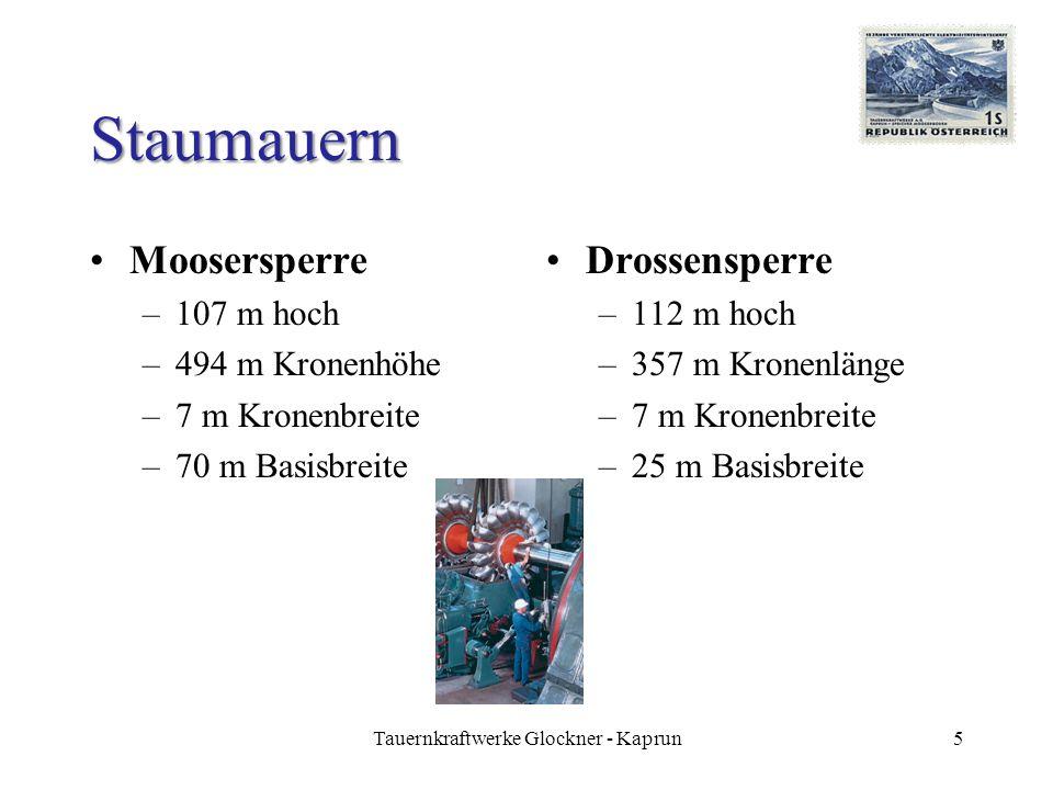 Staumauern Moosersperre –107 m hoch –494 m Kronenhöhe –7 m Kronenbreite –70 m Basisbreite Drossensperre –112 m hoch –357 m Kronenlänge –7 m Kronenbreite –25 m Basisbreite 5Tauernkraftwerke Glockner - Kaprun