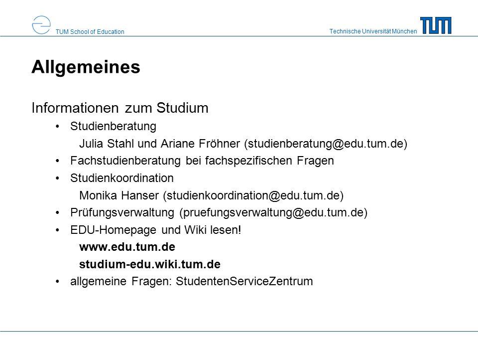 Technische Universität München TUM School of Education Allgemeines Pflicht der Kenntnis von APSO, FPSO (und ggf.
