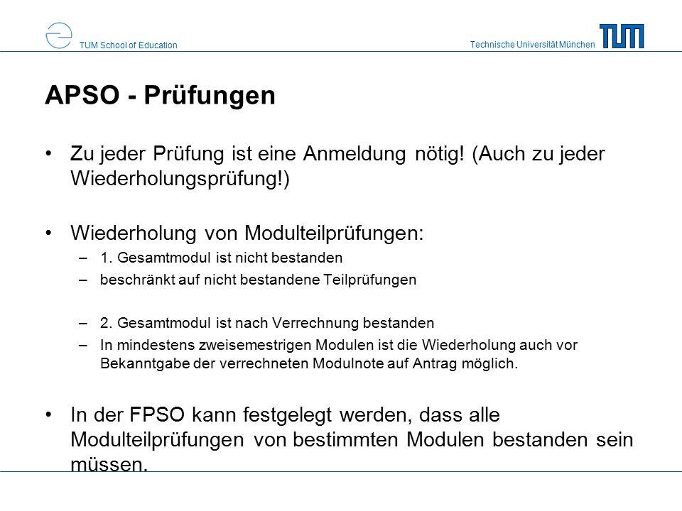 Technische Universität München TUM School of Education Fachprüfungsordnung (FPSO) rechtliche Grundlage für den Studiengang Alle relevanten Prüfungen/Module für Ihren Studiengang Modulbeschreibungen in TUMonline
