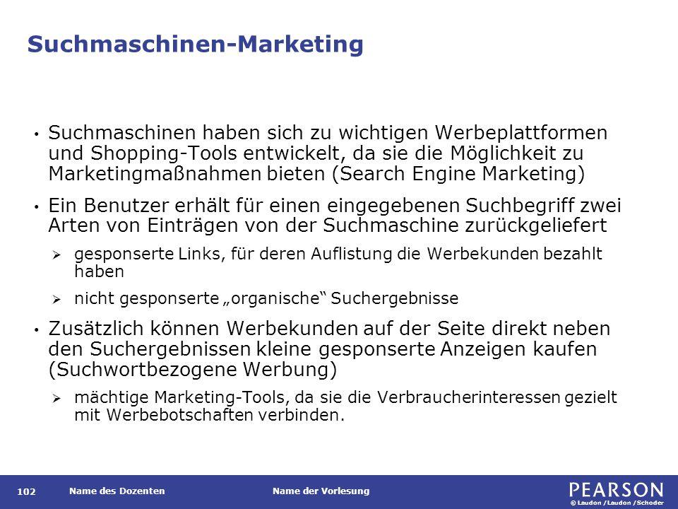 © Laudon /Laudon /Schoder Name des DozentenName der Vorlesung Suchmaschinen-Marketing 102 Suchmaschinen haben sich zu wichtigen Werbeplattformen und S