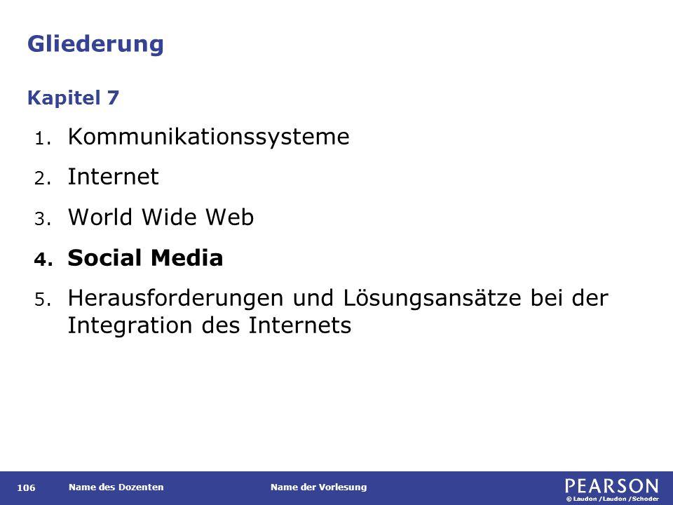 © Laudon /Laudon /Schoder Name des DozentenName der Vorlesung Gliederung 106 1. Kommunikationssysteme 2. Internet 3. World Wide Web 4. Social Media 5.