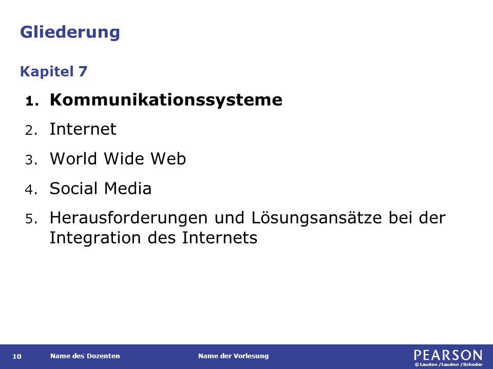 © Laudon /Laudon /Schoder Name des DozentenName der Vorlesung Gliederung 10 1. Kommunikationssysteme 2. Internet 3. World Wide Web 4. Social Media 5.