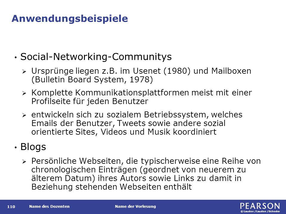 © Laudon /Laudon /Schoder Name des DozentenName der Vorlesung Anwendungsbeispiele 110 Social-Networking-Communitys  Ursprünge liegen z.B. im Usenet (