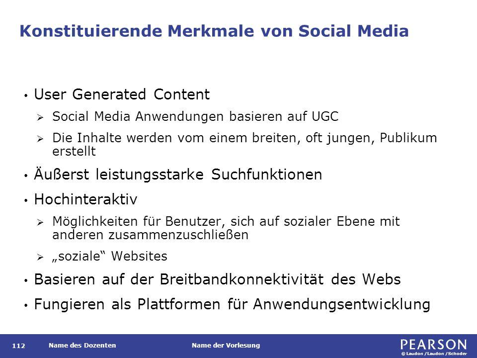 © Laudon /Laudon /Schoder Name des DozentenName der Vorlesung Konstituierende Merkmale von Social Media 112 User Generated Content  Social Media Anwe