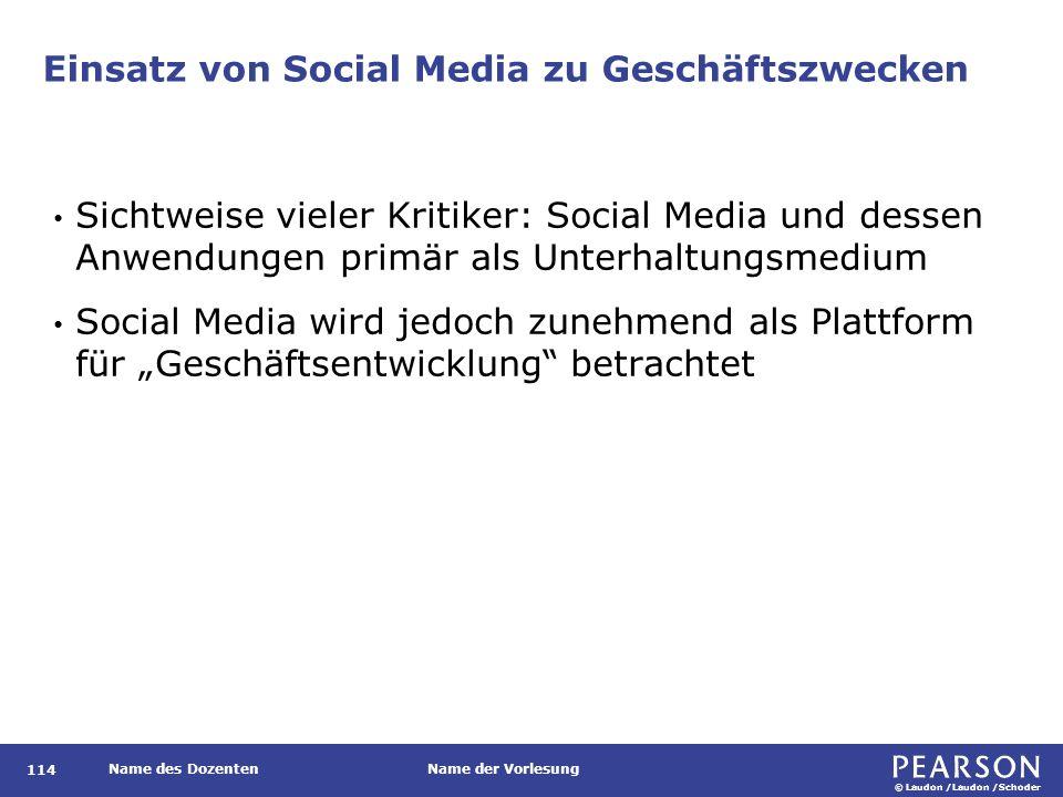 © Laudon /Laudon /Schoder Name des DozentenName der Vorlesung Einsatz von Social Media zu Geschäftszwecken 114 Sichtweise vieler Kritiker: Social Medi