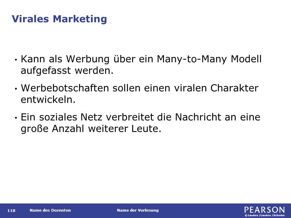 © Laudon /Laudon /Schoder Name des DozentenName der Vorlesung Virales Marketing 118 Kann als Werbung über ein Many-to-Many Modell aufgefasst werden. W