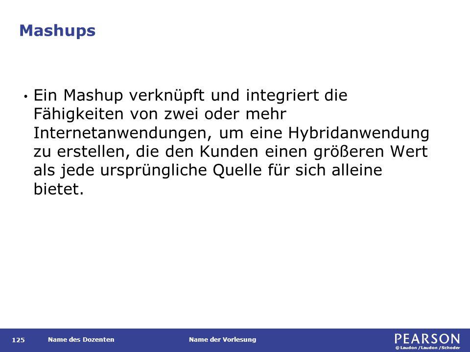 © Laudon /Laudon /Schoder Name des DozentenName der Vorlesung Mashups 125 Ein Mashup verknüpft und integriert die Fähigkeiten von zwei oder mehr Inter