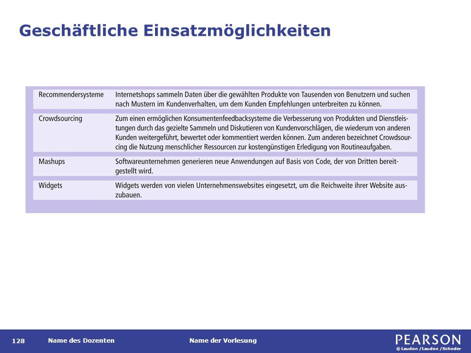 © Laudon /Laudon /Schoder Name des DozentenName der Vorlesung Geschäftliche Einsatzmöglichkeiten 128