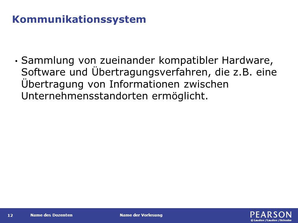© Laudon /Laudon /Schoder Name des DozentenName der Vorlesung Kommunikationssystem 12 Sammlung von zueinander kompatibler Hardware, Software und Übert
