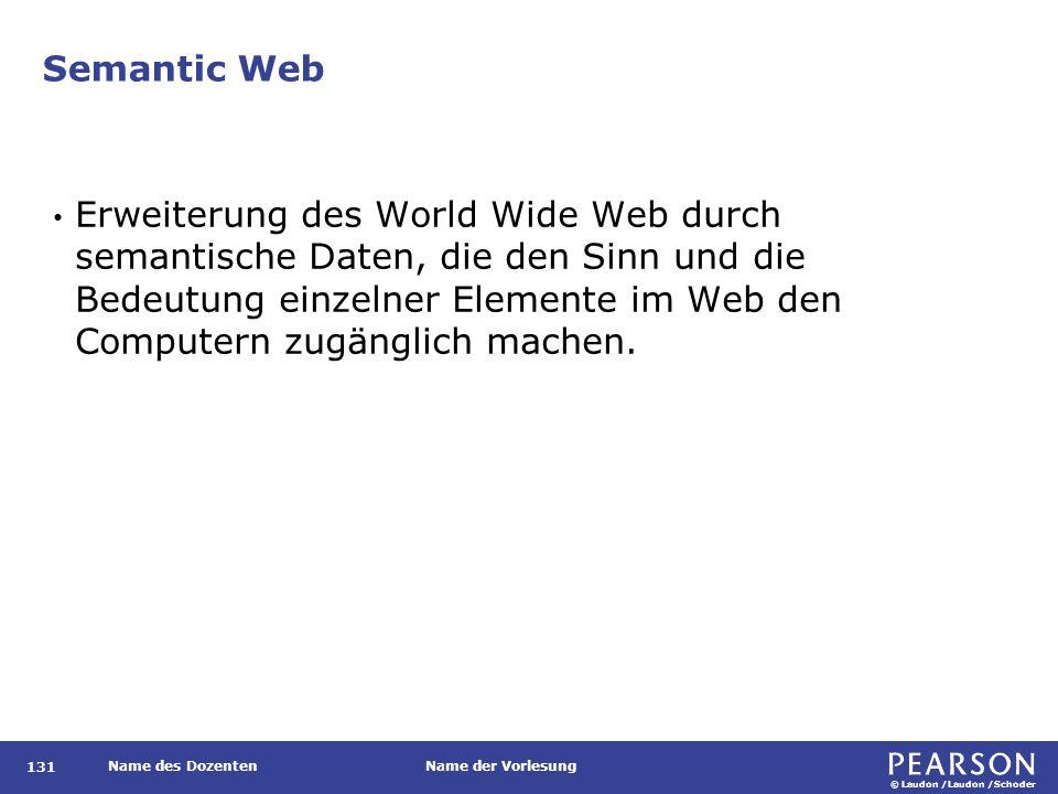 © Laudon /Laudon /Schoder Name des DozentenName der Vorlesung Semantic Web 131 Erweiterung des World Wide Web durch semantische Daten, die den Sinn un