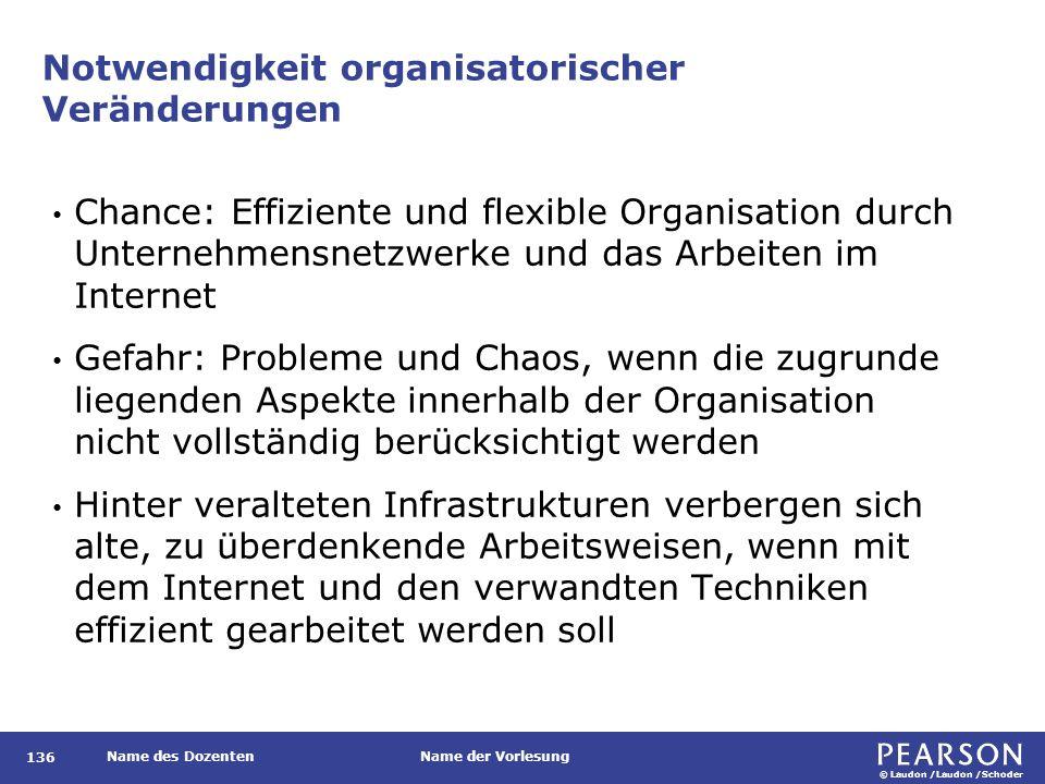 © Laudon /Laudon /Schoder Name des DozentenName der Vorlesung Notwendigkeit organisatorischer Veränderungen 136 Chance: Effiziente und flexible Organi