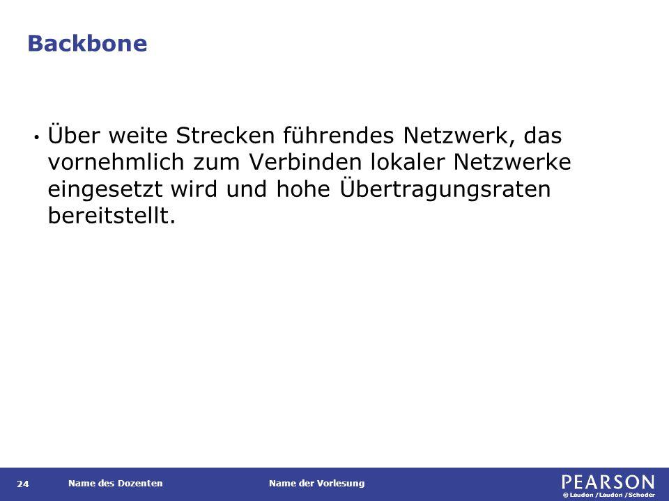 © Laudon /Laudon /Schoder Name des DozentenName der Vorlesung Backbone 24 Über weite Strecken führendes Netzwerk, das vornehmlich zum Verbinden lokale