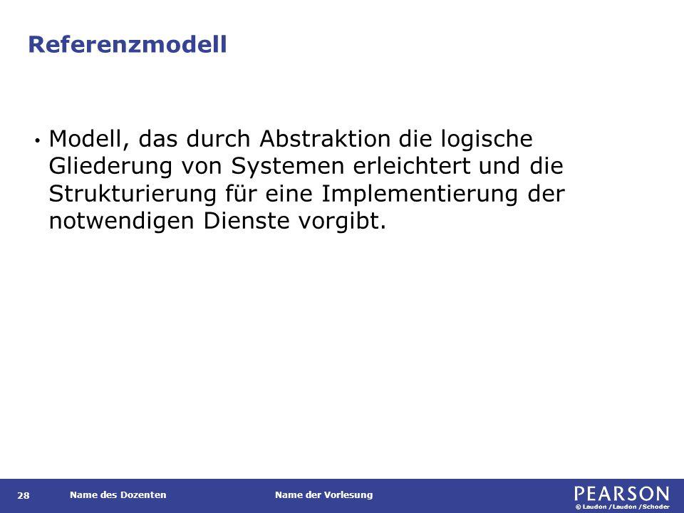 © Laudon /Laudon /Schoder Name des DozentenName der Vorlesung Referenzmodell 28 Modell, das durch Abstraktion die logische Gliederung von Systemen erl