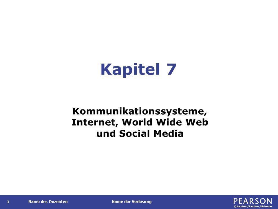 © Laudon /Laudon /Schoder Name des DozentenName der Vorlesung Zentrale Konzepte 93 Das World Wide Web von Tim Berners-Lee definierte drei Kernkonzepte: HTTP (Hypertext Transfer Protocol): Das Übertragungsprotokoll, mit dem der Browser Informationen vom Webserver anfordern kann HTML (Hypertext Markup Language): Auszeichnungs- oder auch Dokumentenbeschreibungssprache, die festlegt, wie die Information strukturiert ist und wie die Dokumente verknüpft sind (Hyperlinks) URL (Uniform Resource Locator) bzw.