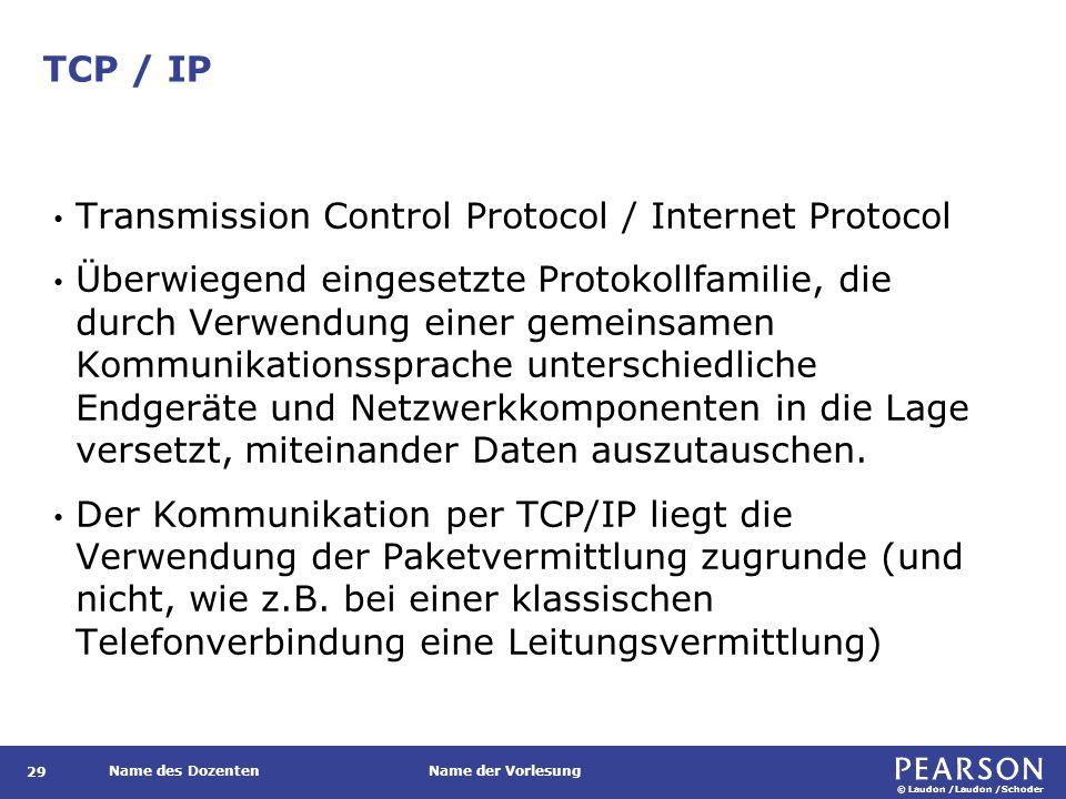 © Laudon /Laudon /Schoder Name des DozentenName der Vorlesung TCP / IP 29 Transmission Control Protocol / Internet Protocol Überwiegend eingesetzte Pr