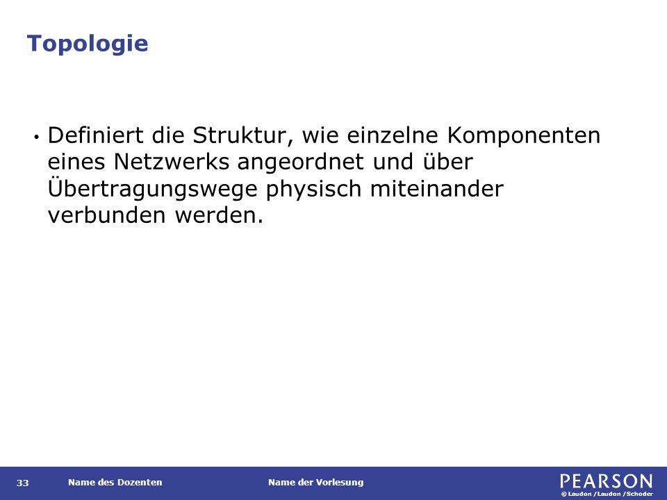 © Laudon /Laudon /Schoder Name des DozentenName der Vorlesung Topologie 33 Definiert die Struktur, wie einzelne Komponenten eines Netzwerks angeordnet
