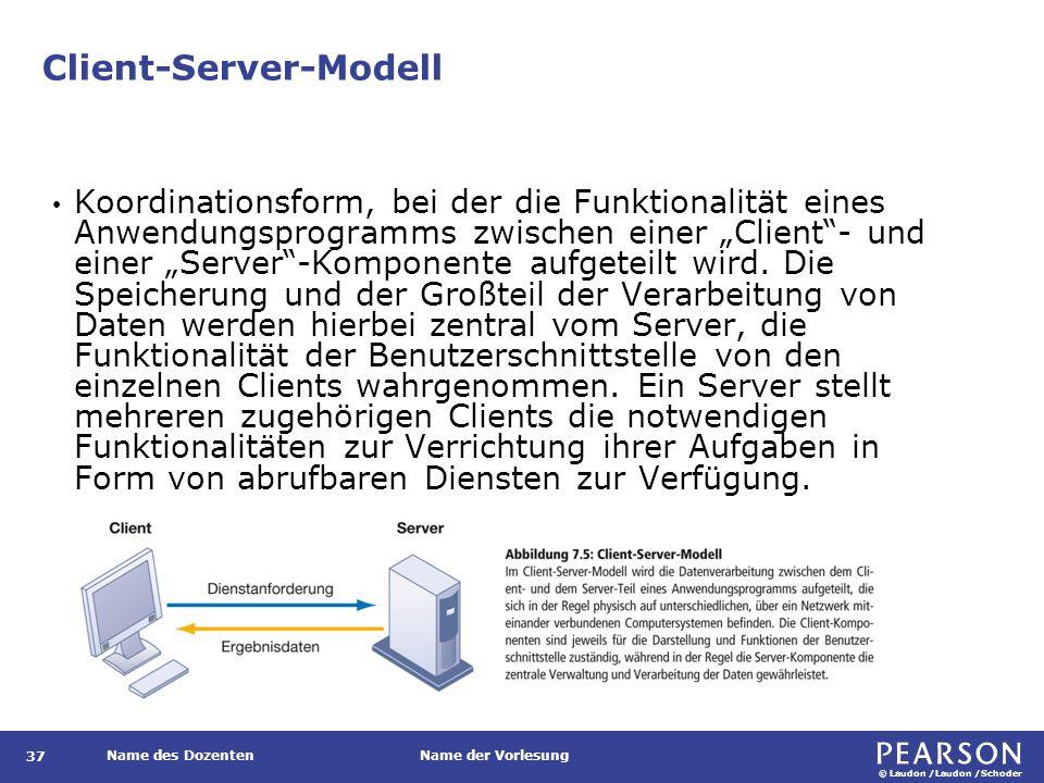 © Laudon /Laudon /Schoder Name des DozentenName der Vorlesung Client-Server-Modell 37 Koordinationsform, bei der die Funktionalität eines Anwendungspr