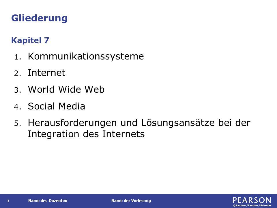 © Laudon /Laudon /Schoder Name des DozentenName der Vorlesung Gliederung 3 1. Kommunikationssysteme 2. Internet 3. World Wide Web 4. Social Media 5. H