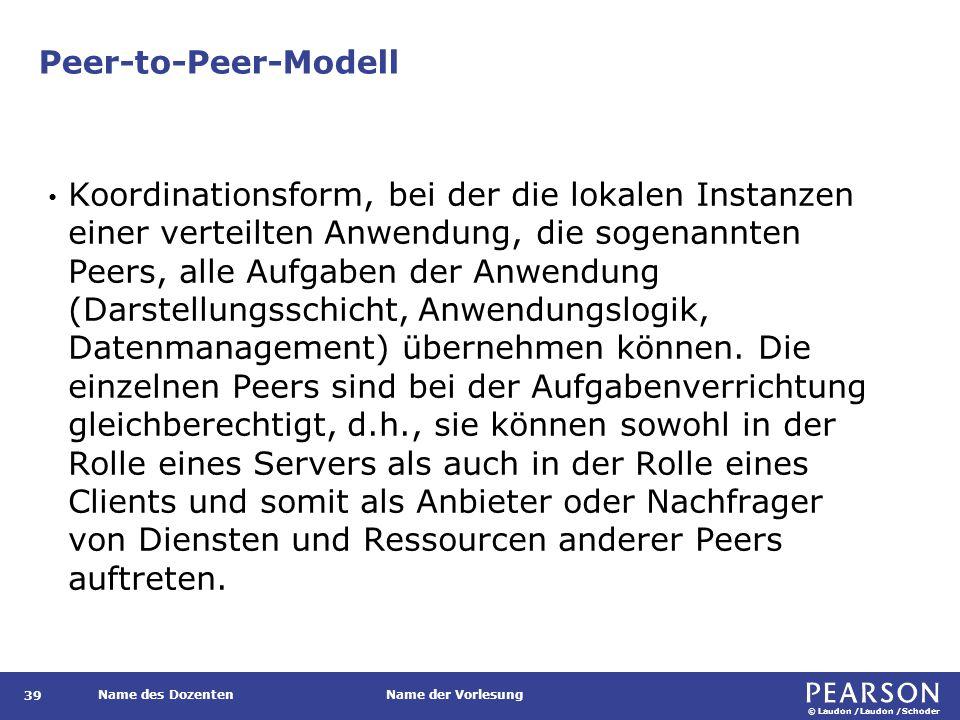 © Laudon /Laudon /Schoder Name des DozentenName der Vorlesung Peer-to-Peer-Modell 39 Koordinationsform, bei der die lokalen Instanzen einer verteilten