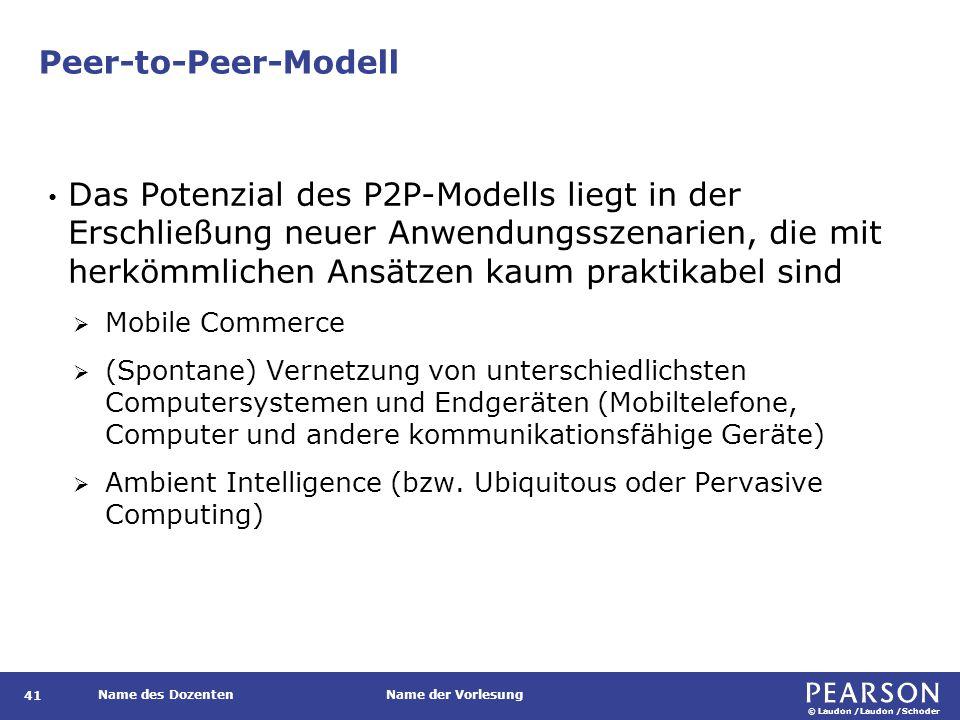 © Laudon /Laudon /Schoder Name des DozentenName der Vorlesung Peer-to-Peer-Modell 41 Das Potenzial des P2P-Modells liegt in der Erschließung neuer Anw