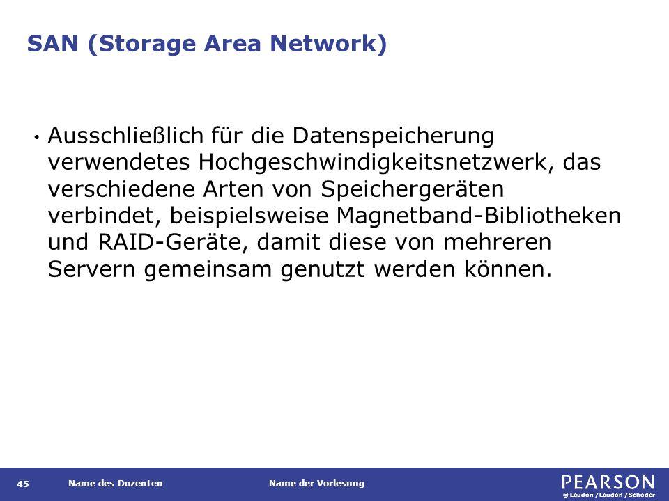 © Laudon /Laudon /Schoder Name des DozentenName der Vorlesung SAN (Storage Area Network) 45 Ausschließlich für die Datenspeicherung verwendetes Hochge