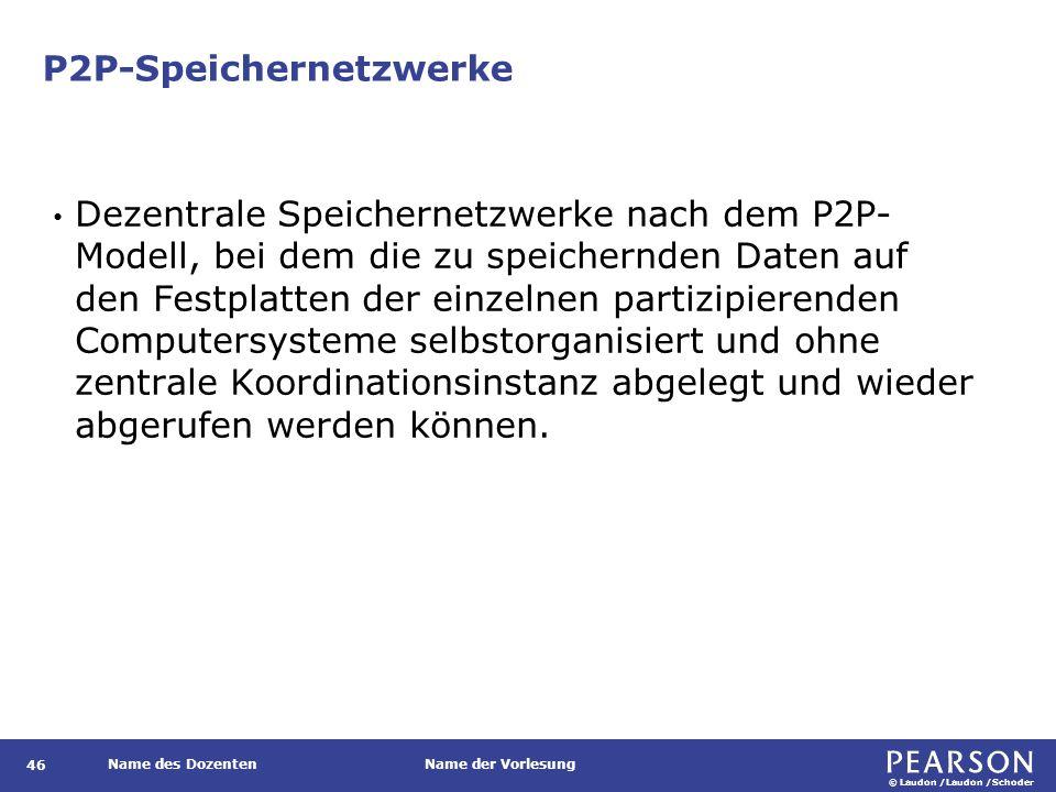© Laudon /Laudon /Schoder Name des DozentenName der Vorlesung P2P-Speichernetzwerke 46 Dezentrale Speichernetzwerke nach dem P2P- Modell, bei dem die