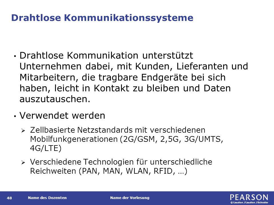 © Laudon /Laudon /Schoder Name des DozentenName der Vorlesung Drahtlose Kommunikationssysteme 48 Drahtlose Kommunikation unterstützt Unternehmen dabei