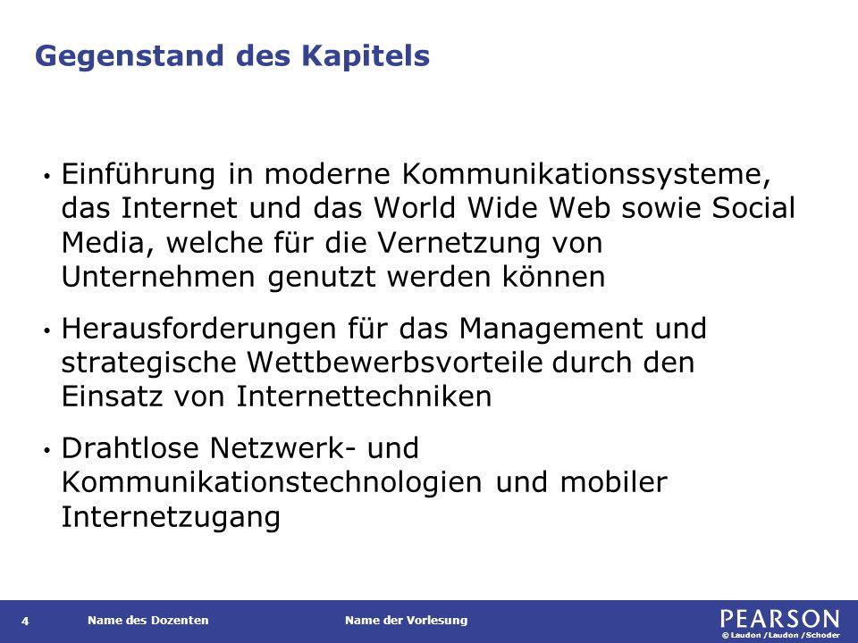 © Laudon /Laudon /Schoder Name des DozentenName der Vorlesung Gegenstand des Kapitels 4 Einführung in moderne Kommunikationssysteme, das Internet und