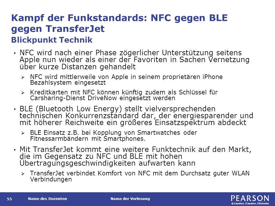 © Laudon /Laudon /Schoder Name des DozentenName der Vorlesung Kampf der Funkstandards: NFC gegen BLE gegen TransferJet 55 NFC wird nach einer Phase zö