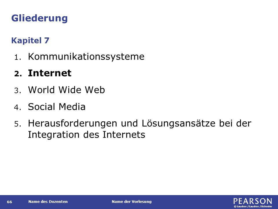 © Laudon /Laudon /Schoder Name des DozentenName der Vorlesung Gliederung 66 1. Kommunikationssysteme 2. Internet 3. World Wide Web 4. Social Media 5.