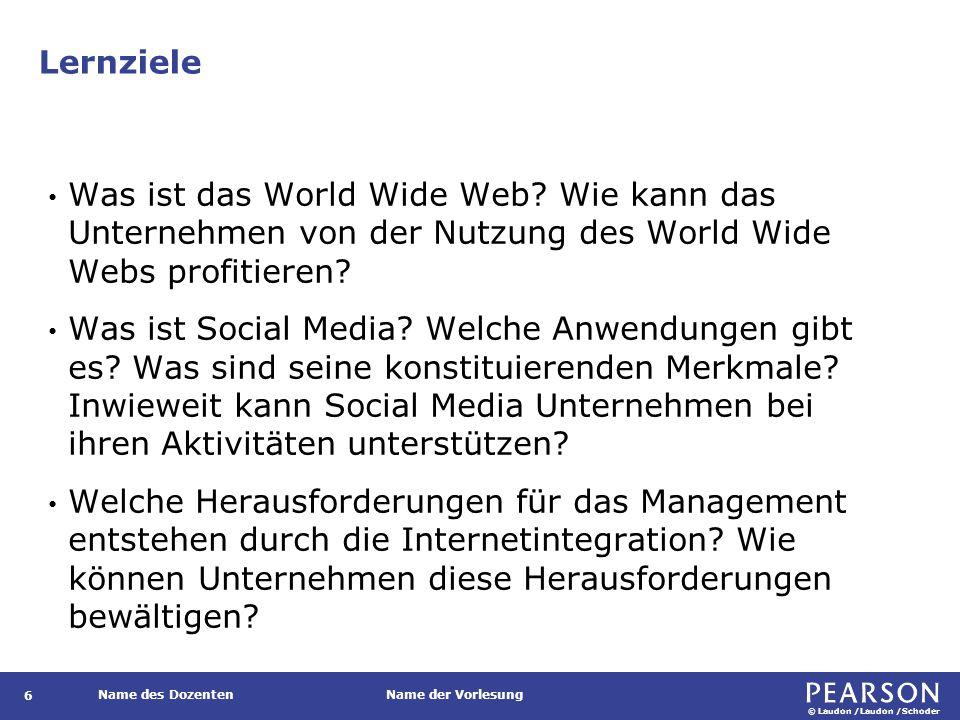 © Laudon /Laudon /Schoder Name des DozentenName der Vorlesung Lernziele 6 Was ist das World Wide Web? Wie kann das Unternehmen von der Nutzung des Wor