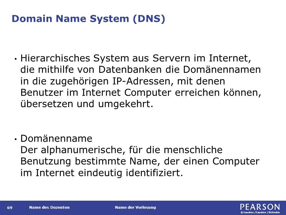 © Laudon /Laudon /Schoder Name des DozentenName der Vorlesung Domain Name System (DNS) 69 Hierarchisches System aus Servern im Internet, die mithilfe