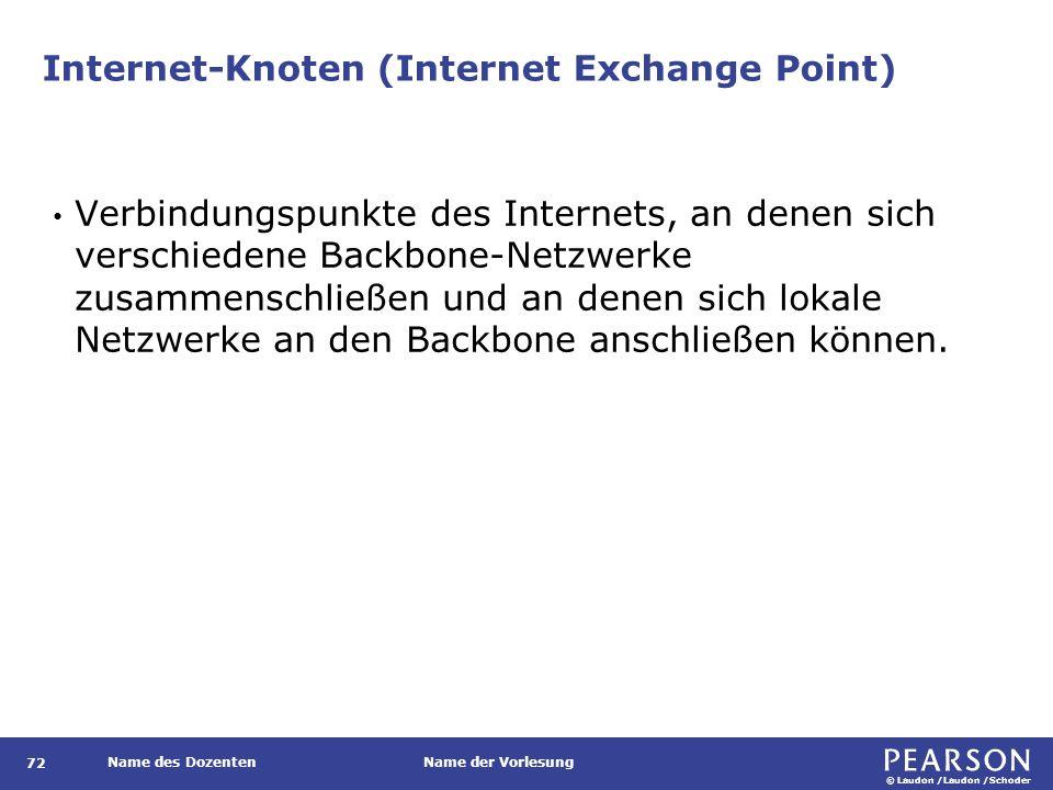 © Laudon /Laudon /Schoder Name des DozentenName der Vorlesung Internet-Knoten (Internet Exchange Point) 72 Verbindungspunkte des Internets, an denen s