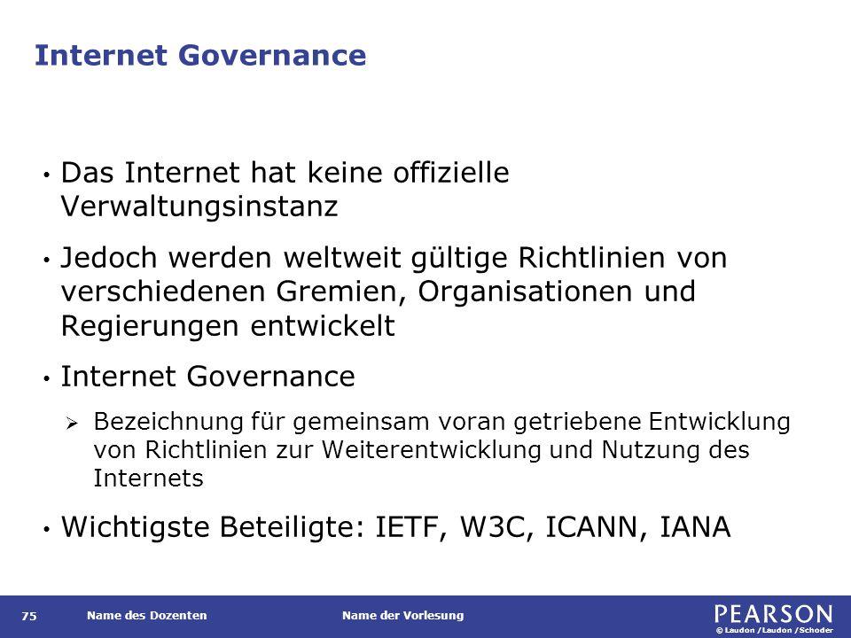 © Laudon /Laudon /Schoder Name des DozentenName der Vorlesung Internet Governance 75 Das Internet hat keine offizielle Verwaltungsinstanz Jedoch werde