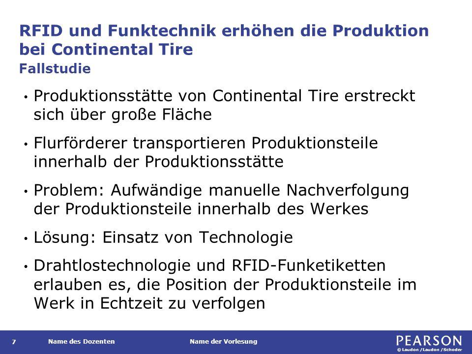 © Laudon /Laudon /Schoder Name des DozentenName der Vorlesung RFID und Funktechnik erhöhen die Produktion bei Continental Tire 7 Produktionsstätte von