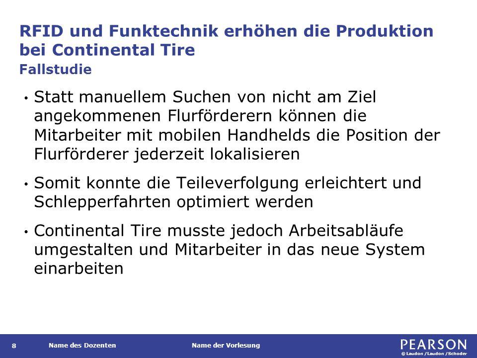 © Laudon /Laudon /Schoder Name des DozentenName der Vorlesung RFID und Funktechnik erhöhen die Produktion bei Continental Tire 8 Statt manuellem Suche
