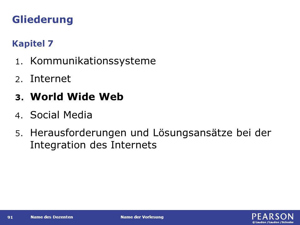 © Laudon /Laudon /Schoder Name des DozentenName der Vorlesung Gliederung 91 1. Kommunikationssysteme 2. Internet 3. World Wide Web 4. Social Media 5.