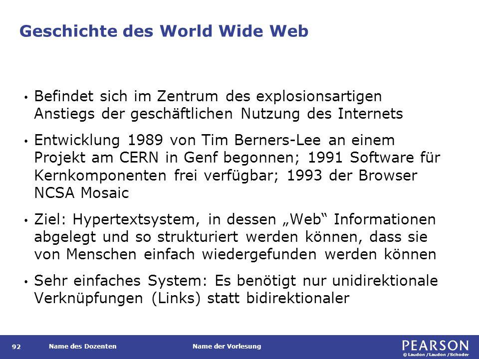 © Laudon /Laudon /Schoder Name des DozentenName der Vorlesung Geschichte des World Wide Web 92 Befindet sich im Zentrum des explosionsartigen Anstiegs