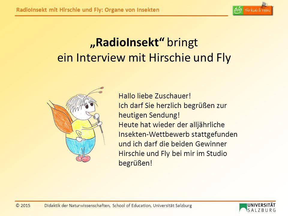 """RadioInsekt mit Hirschie und Fly: Organe von Insekten © 2015Didaktik der Naturwissenschaften, School of Education, Universität Salzburg """"RadioInsekt bringt ein Interview mit Hirschie und Fly Hallo liebe Zuschauer."""