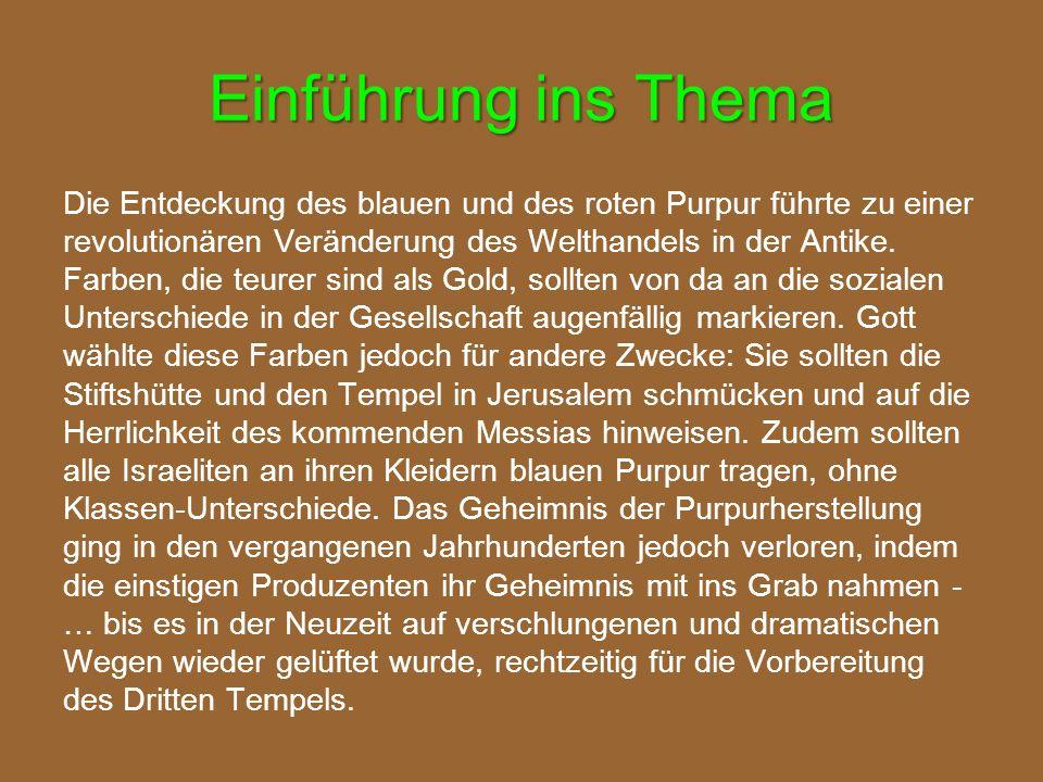 """Die 4 Farben der Stiftshütte Karmesin / Scharlach (tola´ath shani = Scharlach-Wurm): der Messias Israels  Matthäus (Ps 22,6; Mat 27,28: Scharlach / Karmesin!) Roter Purpur (argaman): der Knecht des HERRN auf dem Thron  Markus (Mark 15,27: roter Purpur!; 16,19-20) Weisses Leinen (shesh): der vollkommene Mensch  Lukas (Luk 23,11  toga candida  """"Kandidats-Kleidung) Blauer Purpur (tekhelet): der Sohn Gottes  Johannes (Joh 3,13.31; 6,31 etc.) Matthias Hempel / RL"""