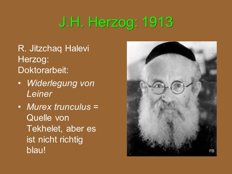J.H. Herzog: 1913 R. Jitzchaq Halevi Herzog: Doktorarbeit: Widerlegung von Leiner Murex trunculus = Quelle von Tekhelet, aber es ist nicht richtig bla